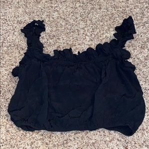 Ruffle Black Crop Top